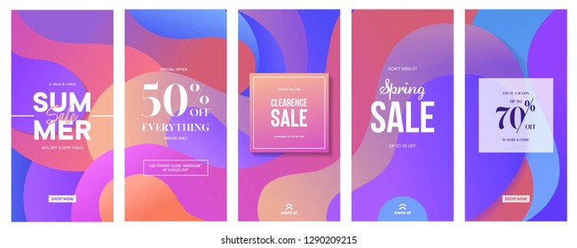 set of Instagram stories sale banner background, instagram template photo, spring and summer sale can use for, website, mobile app, poster, flyer, coupon, gift card, smartphone template, web design