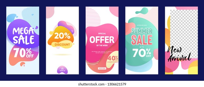 set of Instagram stories sale banner fluid background, instagram template photo, summer sale can use for, website, mobile app, poster, flyer, coupon, gift card, smartphone template, web design