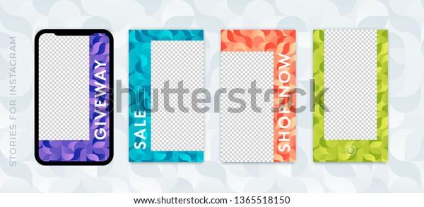 Set Instagram Stories Sale Banner Background Stock Vector (Royalty