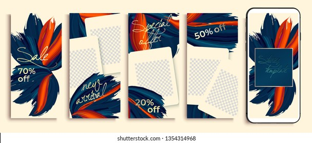 Set of Instagram stories template sale banner background, template photo, can be use for, landing page, website, mobile app, poster, flyer, coupon, gift card. insta fashion