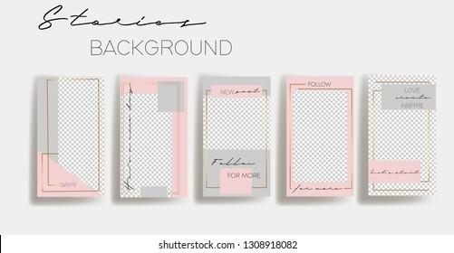 Set of instagram Templates.Vector Layout. Design backgrounds for social media banner.Set of  Instagram stories frame templates. Mockup for social media.