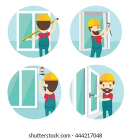 Set of installation of window flat icons.Installation of windows flat style illustration. Measuring Windows and dismantling old windows, window installation