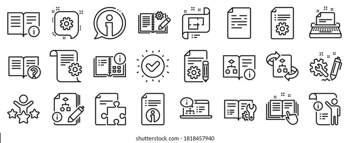 Set of Instruction, Plan and Manual icons. Technical document line icons. Help document, Building plan and Algorithm symbols. Technical blueprint, Engineering instruction, Work tool, building. Vector