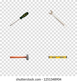 Set of instruments realistic symbols with sledgehammer, wrench, bubble level and other icons for your web mobile app logo design.