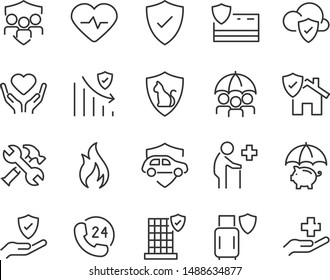 set of insurance icons, emergency, secure, risk