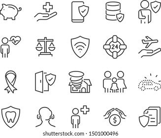 set of insurance icons, secure, emergency, service, risk