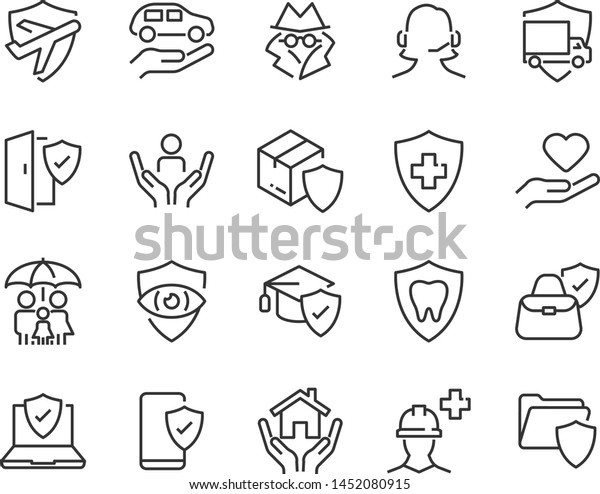 set of insurance icons, such as risk, help, service, care