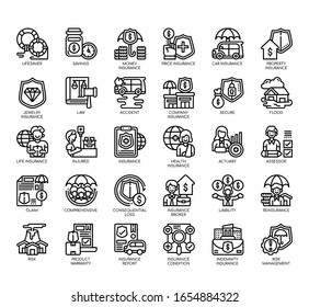 Set of insurance thin line and pixel perfect icons for any web and app project.