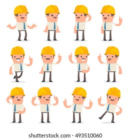 Set of Intelligent and Clever Character Foreman visited great idea poses for using in presentations, etc.