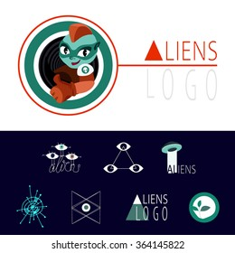 a set of interesting and unusual cartoon vector logo, icons, characters, aliens, extraterrestrial, ufo, flying saucer, alien eyes. Research aliens. Astronomy.