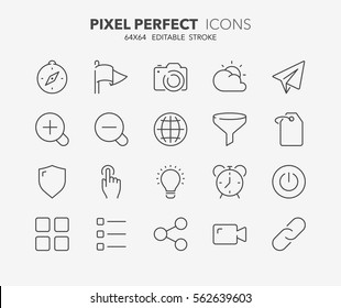Set of interface line icons. Contains icons as compass, shield, photo camera, filter, weather and more. Editable stroke. 64x64 Pixel Perfect.