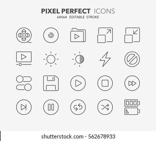 Set of interface line icons. Contains icons as movies, ui buttons, cd, switch, battery and more. Editable stroke. 64x64 Pixel Perfect.