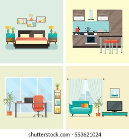 Set of  interior design house rooms with furniture icons: living room, bedroom, kitchen, home office. Flat style vector illustration.