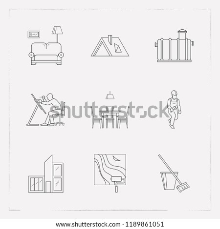 Set Interior Design Icons Line Style Stock Vector Royalty Free
