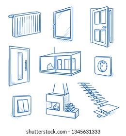 Set of interior design objects as door, window, staircase, veranda, radiator, fireplace or light switch. Hand drawn line art cartoon vector illustration.