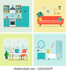 Set of interior design room . Living room, home office, kitchen and bathroom. Vector flat illustration