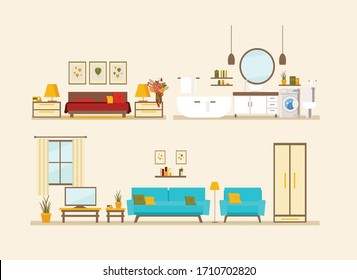 set with interiors, bathroom, living room and bedroom, flat vector illustration of rooms with furniture