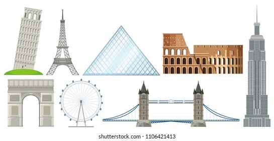 set of International famous landmark illustration