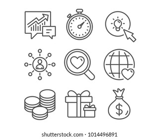 Set of International love, Search love and Timer icons. Surprise package, Tips and Energy signs. Networking, Accounting and Money bag symbols. Internet dating. Dating service. Stopwatch gadget