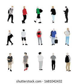 Set of international men are walking with silhouette position