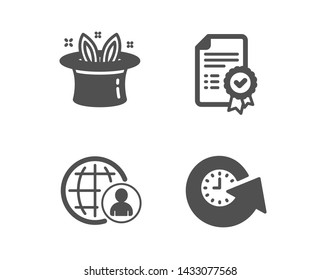 Set of International recruitment, Certificate and Hat-trick icons. Update time sign. World business, Verified document, Magic hat. Refresh watch.  Classic design international recruitment icon