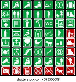 Set of international signs used in transportation meanings