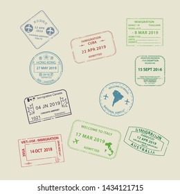 Set of International travel visas passport stamp icons for entering to Australia, Thailand, Brazil, Canada, Cuba, Hong Kong, Indonesia, Vietnam with grunge textured