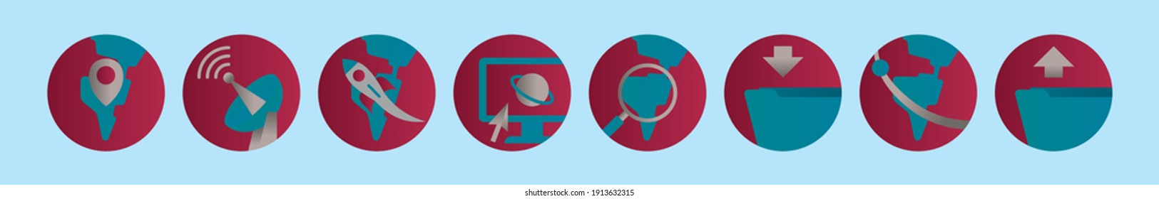 set of internet cartoon icon design template with various models. modern vector illustration isolated on blue background