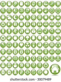 Set of internet glass buttons use (green series)