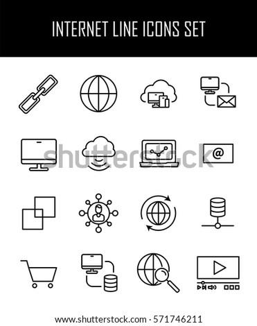 Set Internet Icons Modern Thin Line Stock Vector Royalty Free