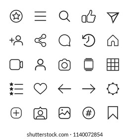 Set of internet linear icons for social media.
