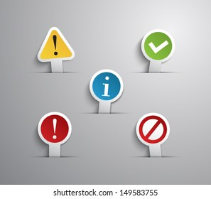 Set of internet notification labels / icons for websites or business design with paper style design. clean and modern, vector eps 10 illustration. Warning, access, problem, ok, advice, error, alert