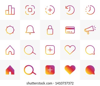 Set of Internet social media instagram gradient icons. Vector interface illustration: like, follower, comment, home, camera, user, search.
