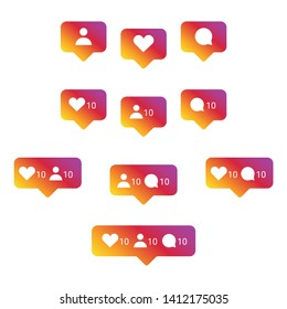 Set of Internet social media instagram icons on colorful smooth gradient. Vector interface button illustration: like, follower, comment