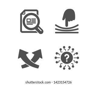 Set of Intersection arrows, Elastic and Check article icons. Question mark sign. Exchange, Resilience, Magnifying glass. Quiz chat.  Classic design intersection arrows icon. Flat design. Vector