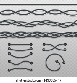 Set of intertwined cable braids and wire stitches, modern electric cables in straight line, curved waves and twisted into mess, coming out of holes - realistic isolated vector illustration