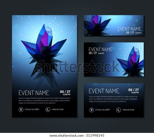 Set Invitation Card Templates Business Card Royalty Free