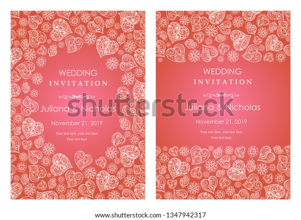 Set Invitation Card Wedding Birthday St Stock Vector