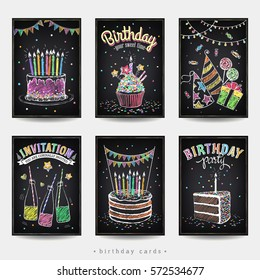 Set of invitation cards to the birthday party with a cake, soda, candles and gift. Freehand drawing with imitation of chalk sketch