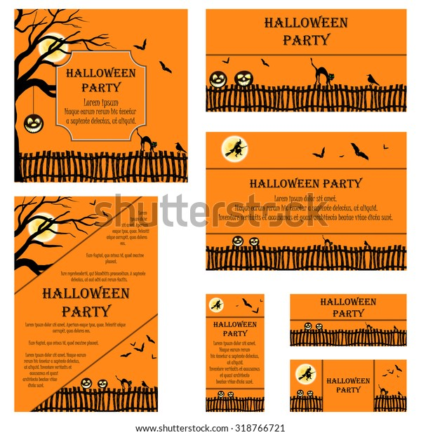 Set Invitation Cards Different Size Formats Stock Vector