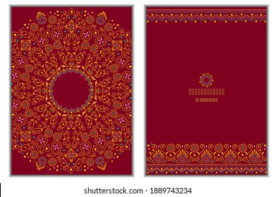 Set of invitation cards with floral mandala background in bright burgundy color.