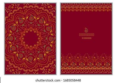 Set of invitation cards with mandala background.