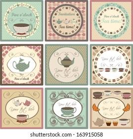 Set of Invitation cards  for tea party, vector illustration