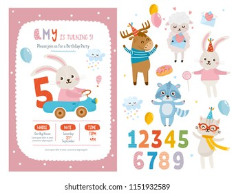 Set of invitation or greeting card design. Beautiful template with letters and numbers. Baby Shower collection. Sheep, rabbit, deer and cat animals. For baby birthday, party, invitation.
