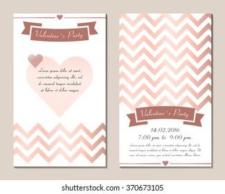 Set invitation for Valentine's day. Cards, templates, layouts for parties, weddings, marriage, bachelorette party. Illustration vector. Isolated