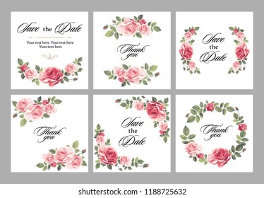 Set invitation vintage card with roses and antique decorative elements. Vector illustration