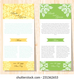 Set of invitations with abstract background
