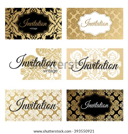 Set Invitations Templates Business Cards Gold Stock Vector Royalty