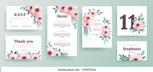 A set of invitations for a wedding with pink flowers. Design a cover with and place for text. Menu template, boarding cards, invitation cards.