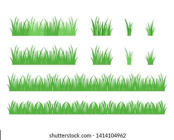 Set of ioslated green grass design flat vector illustration on white background.
